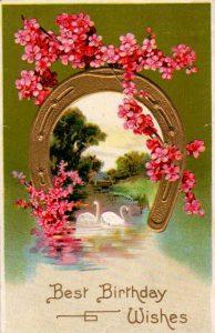 vintage birthday card horseshoe pink flowers public domain