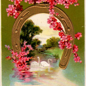 vintage birthday card horseshoe pink flowers public domain