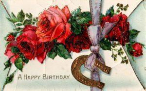 vintage birthday card image roses horseshoe 1