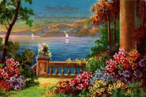 vintage birthday image garden public domain