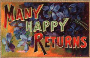 vintage bithday card many happy returns public domain