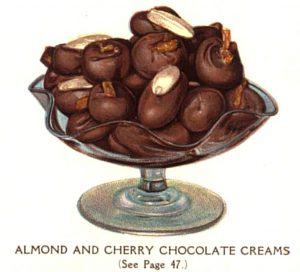vintage chocolate almonds cherries