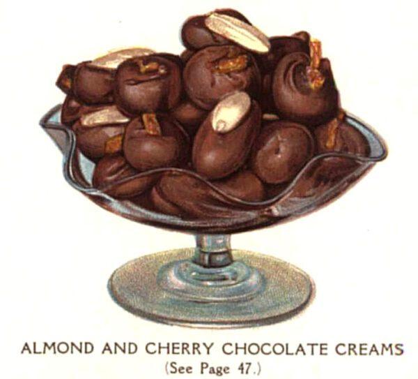 vintage chocolate almonds cherries