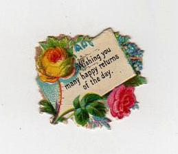 Vintage happy returns die cut free image