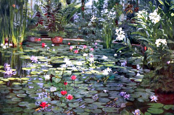 Free vintage landscape of Water lilies in London