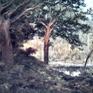 Free public domain vintage landscape of a forest in England.