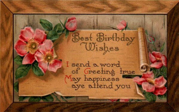 vintage wooden birthday card public domain