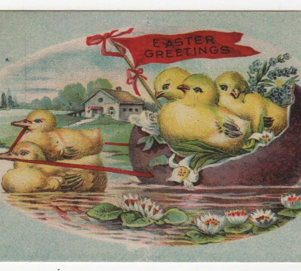 Vintage Easter egg boat greeting card public domain