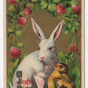 vintage Easter greeting card with rabbit and chick
