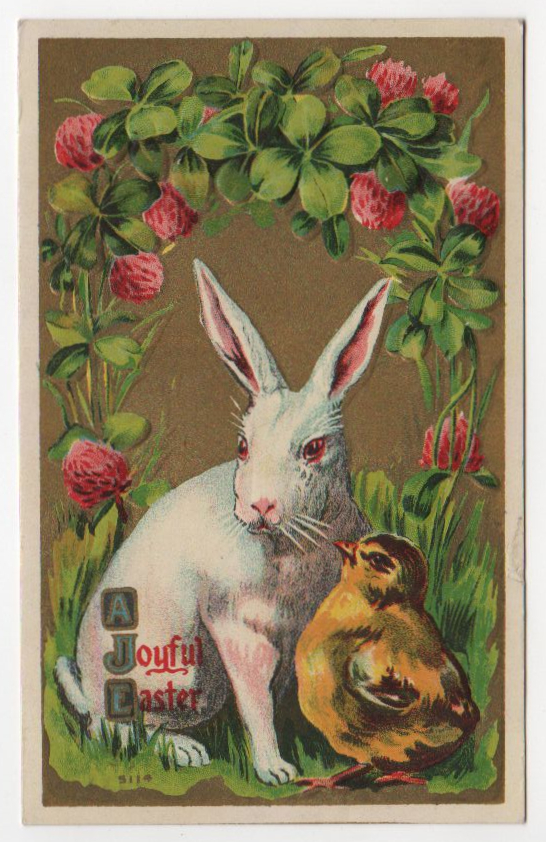 vintage easter rabbit chick greeting card public domain