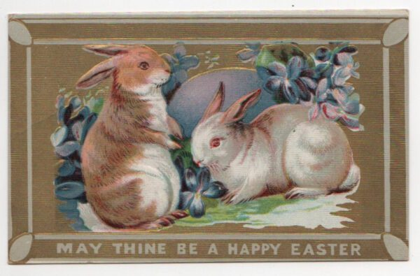 vintage easter rabbits greeting public domain