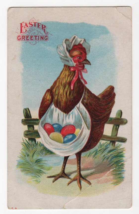 public domain vintage easter rooster with eggs