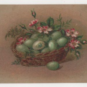Vintage illustration of green eggs in basket public domain
