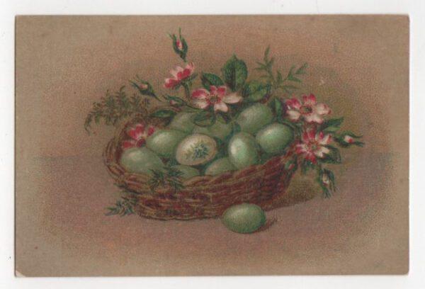 Vintage illustration of green eggs in basket public domain